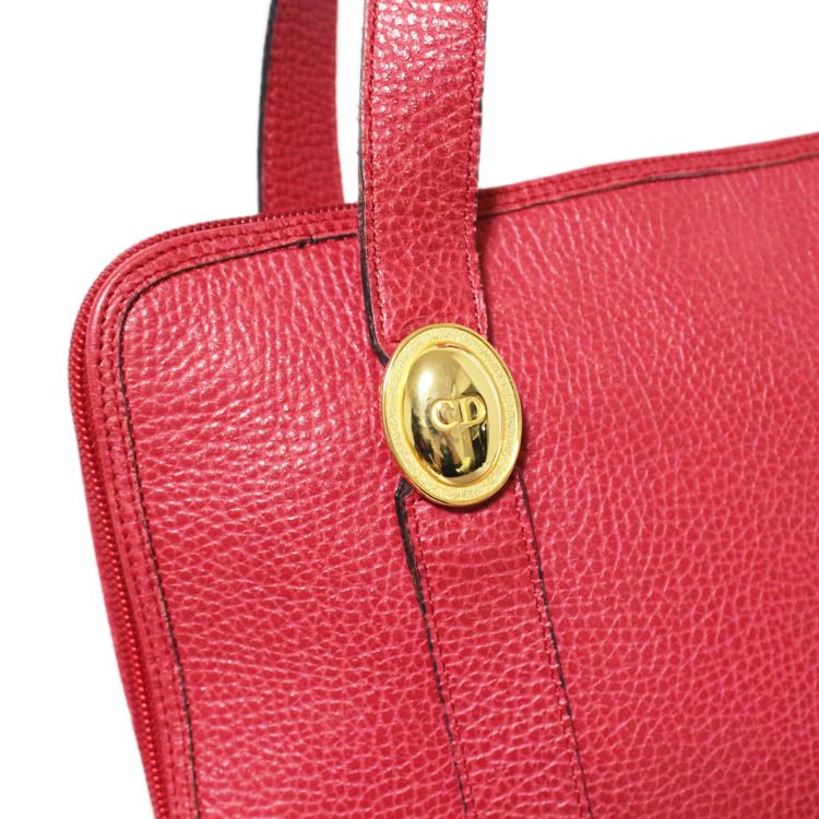 Dior ディオール ヴィンテージ<br>オバールロゴ金具トートショルダーバッグ レッド