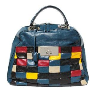 CELINE セリーヌ ヴィンテージ<br>パッチワークデザインハンドバッグ ネイビー