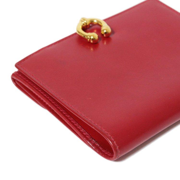 GUCCI グッチ ヴィンテージ<br>ホースシューレザー二つ折り財布 レッド