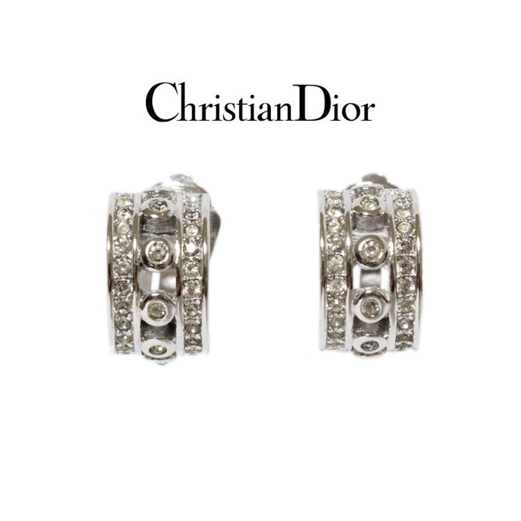 Dior ディオール ヴィンテージ<br>ラインストーンイヤリング シルバー