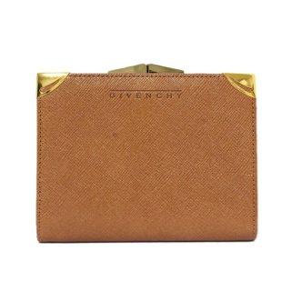 GIVENCHY ジバンシー ヴィンテージ<br>型押しレザーがま口二つ折り財布 キャメル