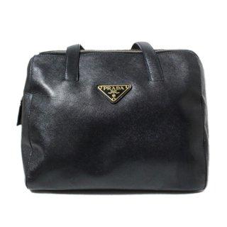 PRADA プラダ ヴィンテージ<br>レザーボストンハンドバッグ ネイビー