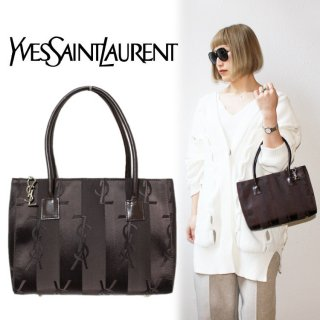 <img class='new_mark_img1' src='https://img.shop-pro.jp/img/new/icons14.gif' style='border:none;display:inline;margin:0px;padding:0px;width:auto;' />YSL イヴサンローラン ヴィンテージ<br>チャーム付ロゴストライプハンドバッグ ブラウン