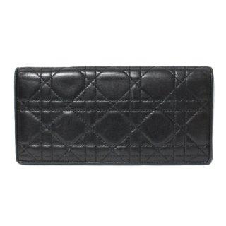 Dior ディオール ヴィンテージ<br>カナージュ長財布 ブラック