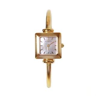 GUCCI グッチ ヴィンテージ<br>シェルスクエアバングルQZ腕時計 1900L
