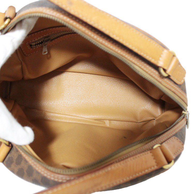 CELINE セリーヌ ヴィンテージ<br>マカダム柄ドーム型ハンドバッグ