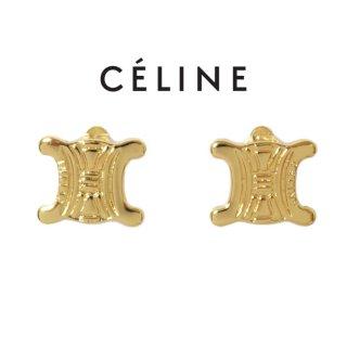 CELINE セリーヌ ヴィンテージ<br>ブラゾンゴールドイヤリング