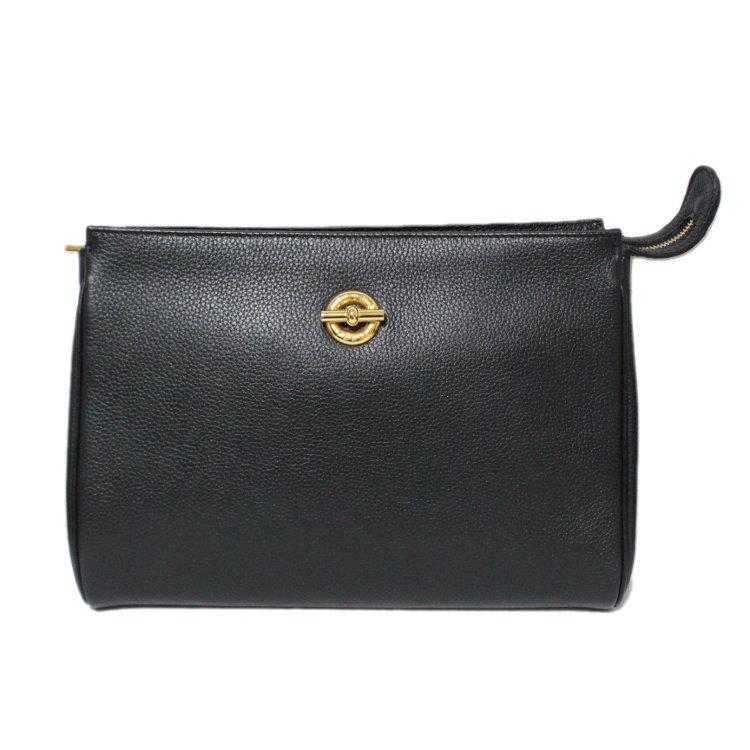 CELINE セリーヌ ヴィンテージ<br>サークル金具レザークラッチバッグ