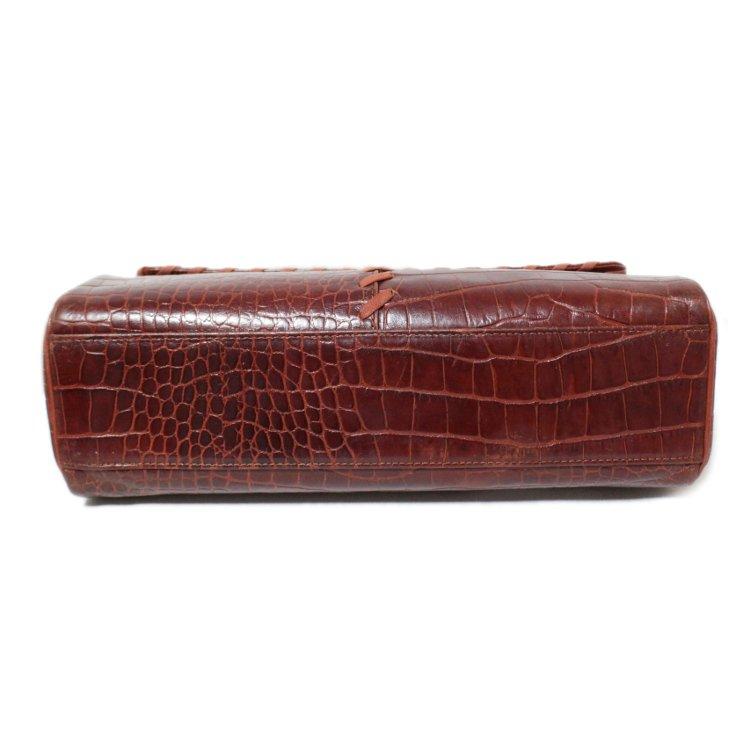 YSL イヴサンローラン ヴィンテージ<br>チャーム付クロコエンボスレザーハンドバッグ