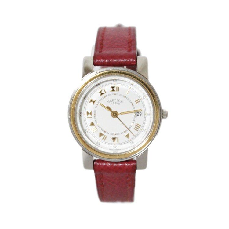 HERMES エルメス ヴィンテージ<br>キャリックレザーQZ腕時計 レッド