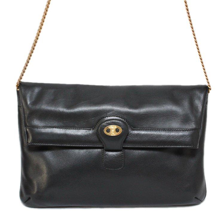 CELINE セリーヌ ヴィンテージ<br>2WAYブラゾンレザークラッチチェーンショルダーバッグ