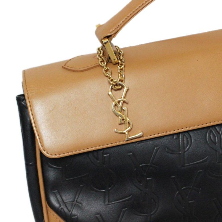 YSL イヴサンローラン ヴィンテージ<br>ロゴチャーム付ロゴ総柄バイカラーハンドバッグ