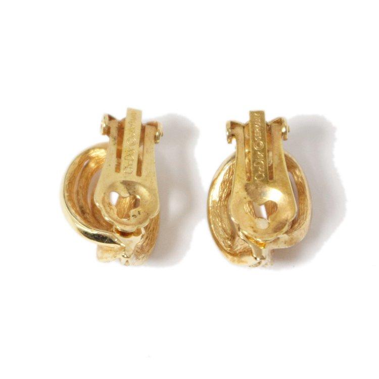 Dior ディオール ヴィンテージ<br>ラインストーンゴールドデザインイヤリング