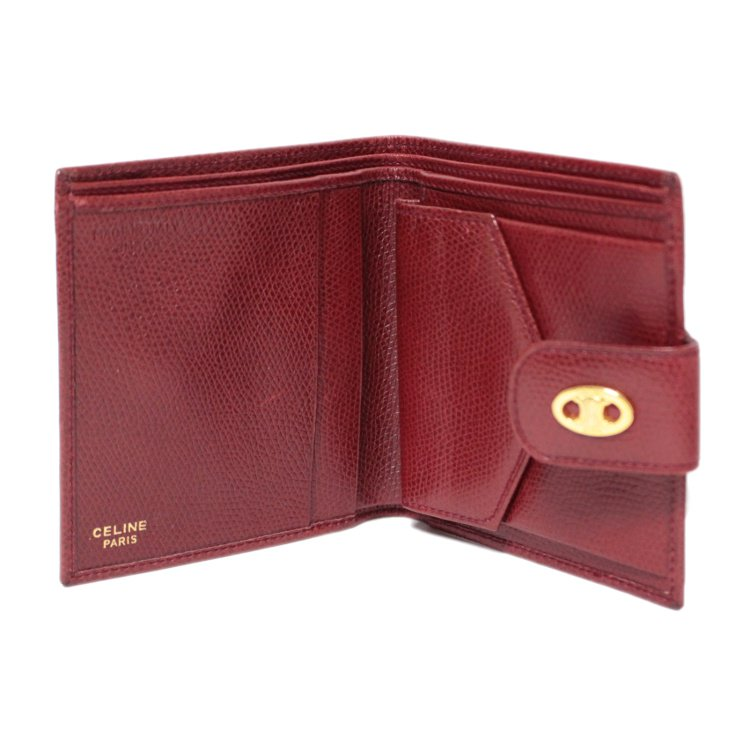 CELINE セリーヌ ヴィンテージ<br>ブラゾンレザー二つ折り財布 ボルドー