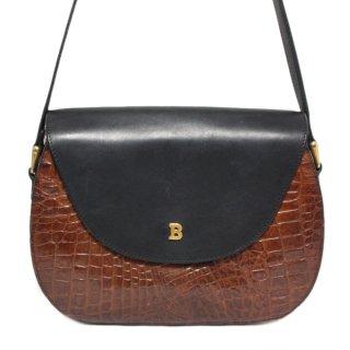 BALLY バリー ヴィンテージ<br>クロコ型押しバイカラーショルダーバッグ