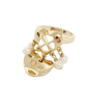 Dior ディオール ヴィンテージ<br>ハート×フェイクパールスウィングリング