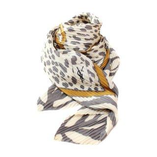 YSL イヴサンローラン ヴィンテージ<br>ゼブラ×レオパードロゴプリーツスカーフ