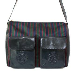 CELINE セリーヌ ヴィンテージ<br>ストライプキャンバス×レザーショルダーバッグ