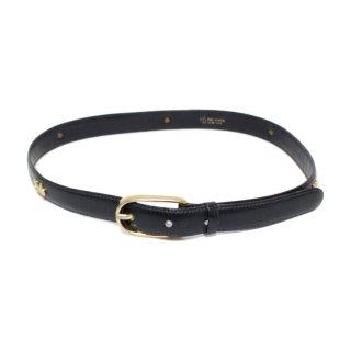 CELINE セリーヌ ヴィンテージ<br>ホースキャリッジレザーベルト ダークネイビー 65