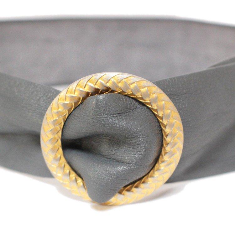 Dior ディオール ヴィンテージ<br>ウエストマークレザーベルト グレー 75