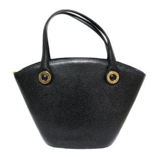 VALENTINO ヴァレンティノ ヴィンテージ<br>ロゴサークル金具レザーハンドバッグ