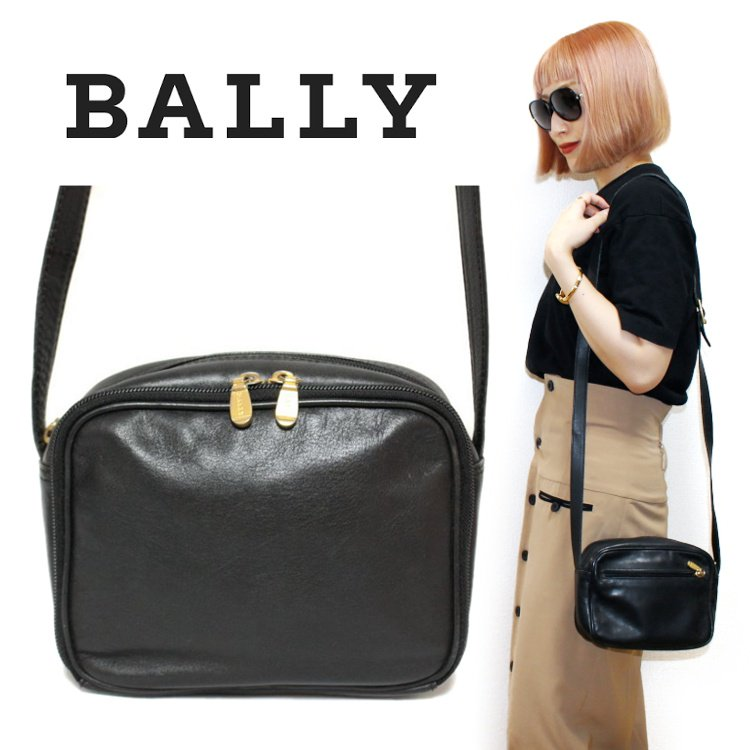 BALLY バリー ヴィンテージ<br>レザーショルダーバッグ ブラック
