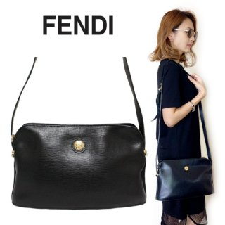 FENDI フェンディ ヴィンテージ<br>ロゴ型押しレザーショルダーバッグ