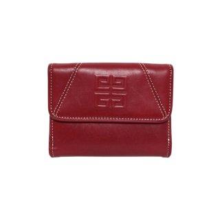 GIVENCHY ジバンシー ヴィンテージ<br>ロゴレザー二つ折り財布 レッド
