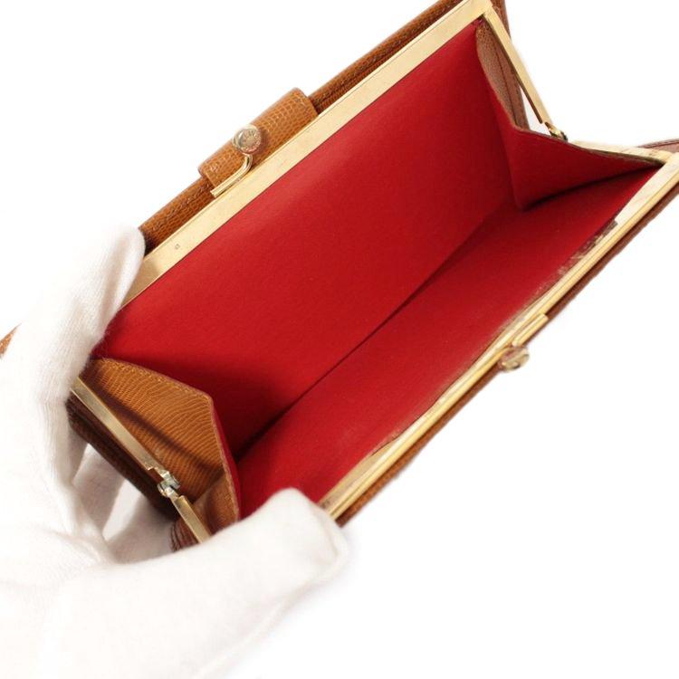 CELINE セリーヌ ヴィンテージ<br>ロゴサークル金具がま口長財布 キャメル
