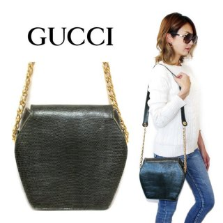 <img class='new_mark_img1' src='https://img.shop-pro.jp/img/new/icons14.gif' style='border:none;display:inline;margin:0px;padding:0px;width:auto;' />GUCCI グッチ ヴィンテージ<br>リザード型押しレザーチェーンショルダーバッグ グリーン