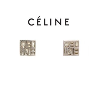 CELINE セリーヌ ヴィンテージ<br>ロゴスクエアピアス シルバー