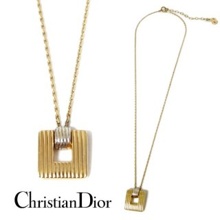 Dior ディオール ヴィンテージ<br>コンビカラースクエアネックレス
