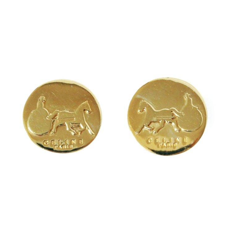 CELINE セリーヌ ヴィンテージ<br>ホースキャリッジイヤリング