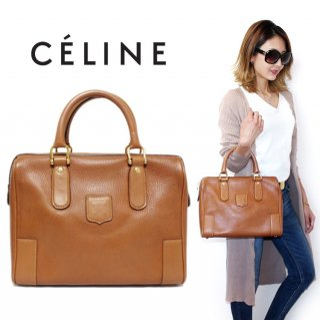 CELINE セリーヌ ヴィンテージ<br>ブラゾンボストンハンドバッグ キャメル