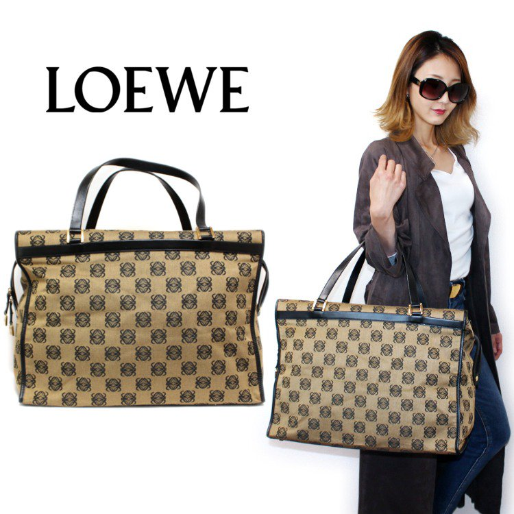 <img class='new_mark_img1' src='https://img.shop-pro.jp/img/new/icons14.gif' style='border:none;display:inline;margin:0px;padding:0px;width:auto;' />LOEWE ロエベ ヴィンテージ<br>アナグラムキャンバスビッグボストンバッグ