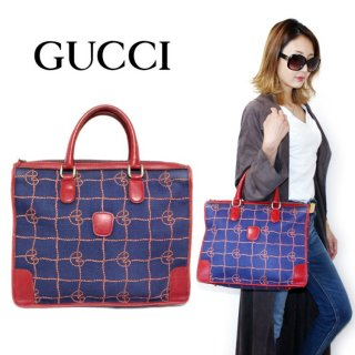 <img class='new_mark_img1' src='https://img.shop-pro.jp/img/new/icons14.gif' style='border:none;display:inline;margin:0px;padding:0px;width:auto;' />GUCCI グッチ ヴィンテージ<br>ロープモチーフチェックハンドバッグ