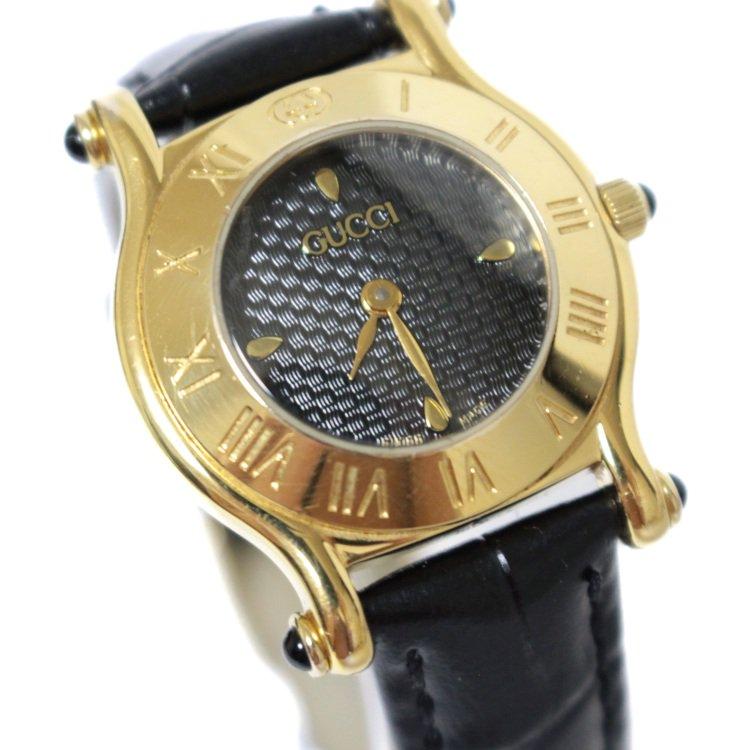GUCCI グッチ ヴィンテージ<br>レザーベルトQZ腕時計 6500L ブラック