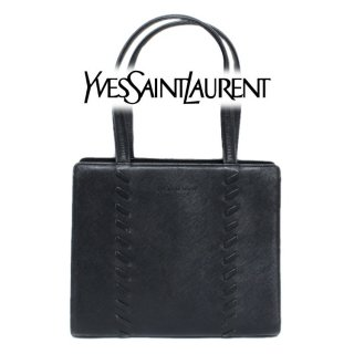 <img class='new_mark_img1' src='https://img.shop-pro.jp/img/new/icons14.gif' style='border:none;display:inline;margin:0px;padding:0px;width:auto;' />YSL イヴサンローラン ヴィンテージ<br>レースアップカーフレザー型押しレザーハンドバッグ