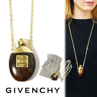 GIVENCHY ジバンシー ヴィンテージ<br>べっこうロゴ香水瓶ネックレス