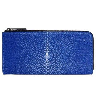 長財布 L型ファスナー ポリッシュ ブルー