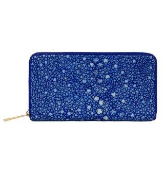 梅花皮 長財布 ブルー