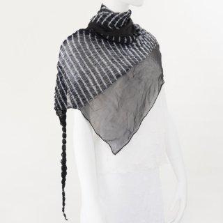 杢絞りトライアングルスカーフ ブラック&ホワイト