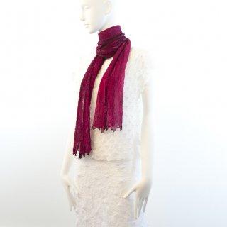 杢絞りスカーフ フューシャピンク&ブラウン