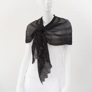 杢絞りスカーフ ブラック&チャコールグレイ