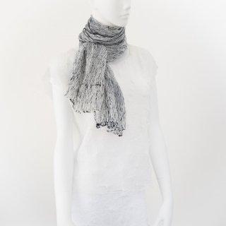 杢絞りスカーフ ブラック&ホワイト