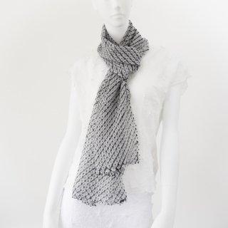 唄絞りレーススカーフ(ハーフ) ブラック&ホワイト