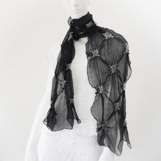 唄絞り市松スカーフ(ハーフ) ブラック&ホワイト