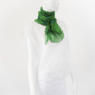 唄絞り市松スカーフ(ハーフ) ライトグリーン&マリンブルー