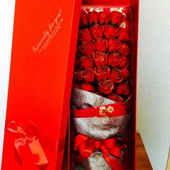 赤バラの花束 シャボンフラワー