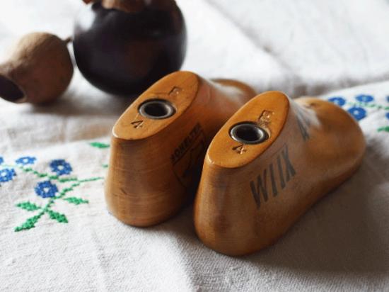 アンティーク 子供の木製靴型 サイズ4